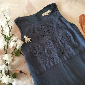 🍃🌸{LOFT}: Periwinkle Embroidered Dress🌸🍃